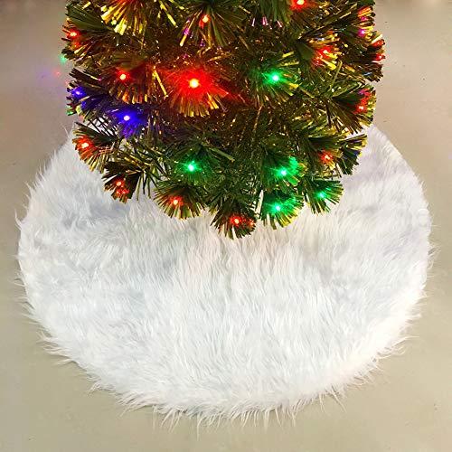 Upgrow Weihnachtsbaumdecke Weihnachtsbaum Rock Plüsche Weiche Weihnachtsbaum Decke Christbaumständer Teppich, Weihnachtsdeko für Weihnachtsfeiertag (Weiß-78cm)