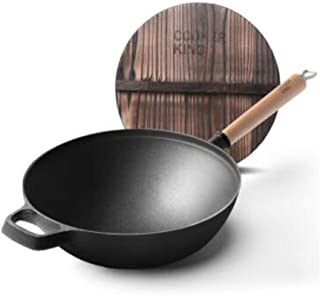 WENPINHUI Wok, Frying Pan, 30cm Thick Cast Iron Pot, Uncoated Wok, Induction Cooker, Gas Fire, General Cookware (Color : Black, Size : 30cm)