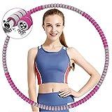 TvvaaFog Hula Reifen Hoop für Erwachsene,Stabiler Edelstahlkern Fitness Exercise Hoop zur Gewichtsreduktion und Massage, 8 abnehmbare Teile,Reifen Hoop für Erwachsene & Kinder (Grau & Rose Red)