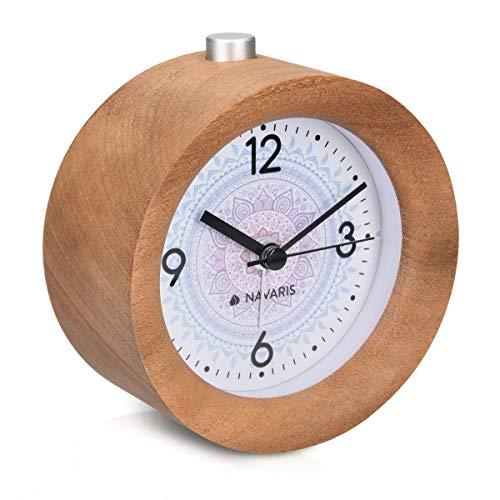 Navaris Analog Holz Wecker mit Snooze - Retro Uhr Rund mit Design Ziffernblatt Alarm Licht - Leise...