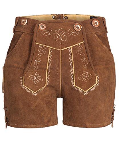 Tracht & Pracht - Damen 100% Wildleder - Trachtenlederhose Kurz Hotpants - Lederhose Helllbraun - 36