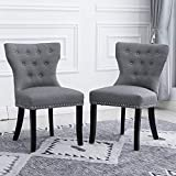 <span class='highlight'>BOJU</span> Comfy Grey <span class='highlight'>Dining</span> Room Chair <span class='highlight'>Set</span> <span class='highlight'>of</span> 2 Fabric Upholstered for Kitchen Restaurant <span class='highlight'>Occasional</span> Leisure <span class='highlight'>Chairs</span> Wing Back (Light Grey)