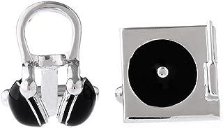 MRCUFF Headphones Turntable DJ Radio Pair Cufflinks in a Presentation Gift Box & Polishing Cloth