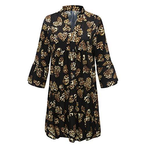 Tallas Grandes, Vestidos Estampado de Leopardo Mujer Verano 2020 Casual, Dragon868 Vestidos Cortosde Fiesta para Playa, Manga Larga, Cuello En V, Estampado Floral, Vestido Holgado con Botones, S-5XL