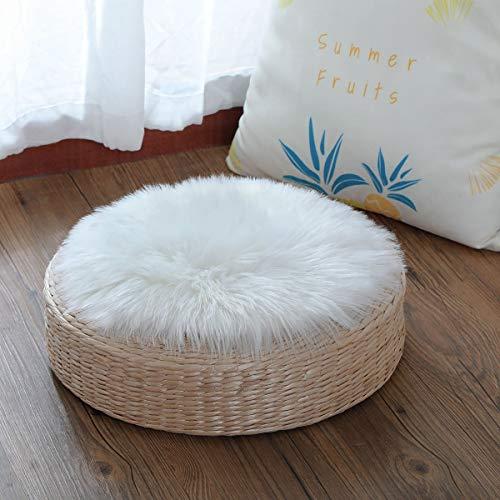 YIHAIC Faux Lammfell Schaffell Teppich, Kunstfell in Super weich Lammfellimitat Teppich Longhair Fell Optik Nachahmung Wolle Bettvorleger Sofa Matte. (Weiß, 30 x 30cm)