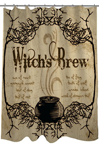 Witch's Brew with Spooky Branch Retro Shower Curtain