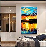 mmzki Mann Ölgemälde Rahmenlose Gemälde Handgemalte Moderne abstrakte Sonnenaufgang Ölgemälde auf Leinwand Wandkunst Bild für Wohnzimmer Home Decoration-40x80CM_Kingh1