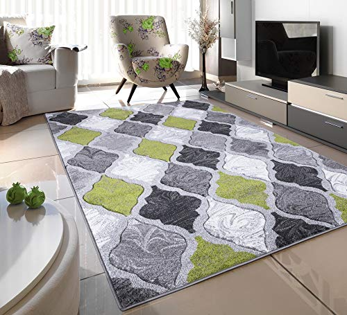 GREEN SILVER WHITE GREY TRELLIS SMALL MEDIUM XX LARGE RUG NEW MODERN SOFT THICK CARVED CARPET NON SHED RUNNER BEDROOM LIVING ROOM AREA RUG MAT (160 x 225 cms)