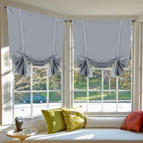 Grey Curtains Home Decoration Easy Care Thermal Insulated Solid Rod Pocket Blackout Panels / Drapes for Bedroom, 2 Panels, 42W x 63L