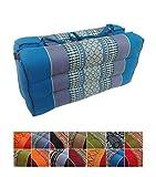 Collumino® - cuscino tradizionale Thai pieghevole in kapok, ideale per yoga e meditazione. Con maniglia per il trasporto , ., Blu