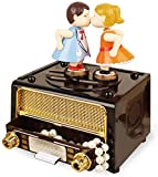Box Collector Retro Music, Radio Classique De La Hermosa Caja De Almacenamiento con Forma De Muñeca para Regalo De Boda San Valentín,Marrón