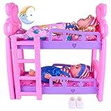 Mädchen Puppenbett Spielzeug Prinzessin Puppe Etagenbett Minibett Simulation Kinderbett Puppenhaus...