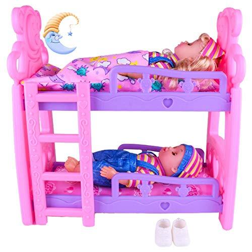 Mädchen Puppenbett Spielzeug Prinzessin Puppe Etagenbett Minibett Simulation Kinderbett Puppenhaus Zubehör Mit Fantastisches Farbschema Für Mädchen Geburtstagsfeier Weihnachts Geschenk