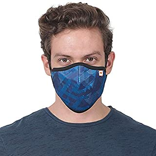 WILDCRAFT SUPERMASK W95 Plus Reusable Outdoor Respirator With Neckband (MEDIUM 40-70KG) (PACK OF 3, SUBLIPRINT : BLU_TRIZI)