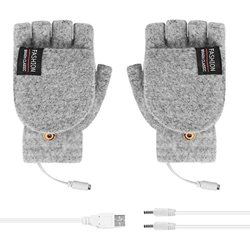 BUZHIDAO Guantes calentados por USB, guantes cálidos de invierno, guantes completos y medio dedo, guantes de mano cálidos para hombres y mujeres