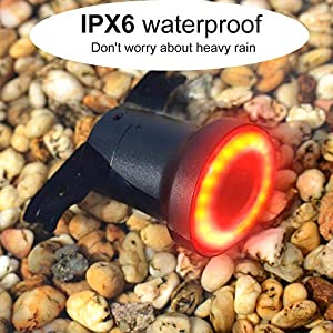 Bicicleta Luz trasera Inducción de freno USB Recargable Inteligente Luz de bicicleta Auto Arranque Parada Detección de freno IPx6 a prueba de agua
