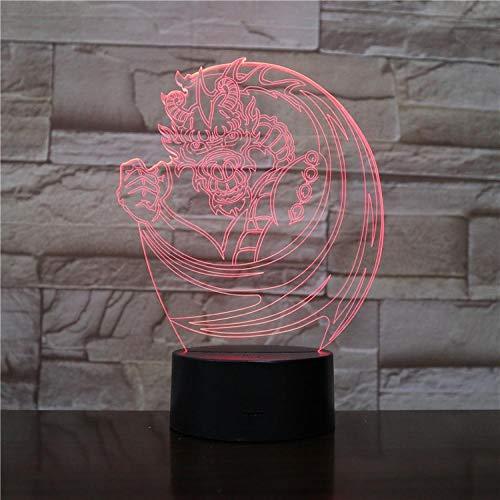 Nieuwe 3D visueel nachtlampje huisdecoratie licht meerkleurig USB kleine tafellamp logo gepersonaliseerd Chinese draak