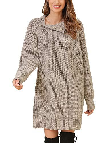 Woolen Bloom Mujeres Vestido Jersey Invierno Cuello Alto con Botón Ve