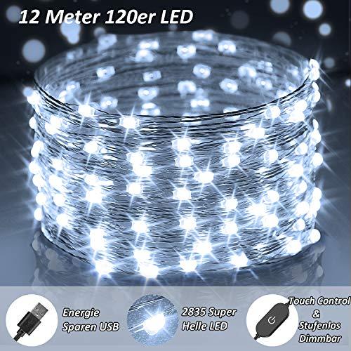 LED Lichterkette Außen Kalt Weiß, 12M 120er LED Lichterkette Sehr Helle, IP65 Wasserdicht USB Lichterketten Dimmbar, 2835 LED Fairy Lights für Draußen, Garten, Schlafzimmer, Weihnachten, Party Deko