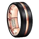 iTungsten 8mm Black Rose Gold Tungsten Ring Men Women Wedding Bands Two Tone Beveled Edges Matte Finish Comfort Fit