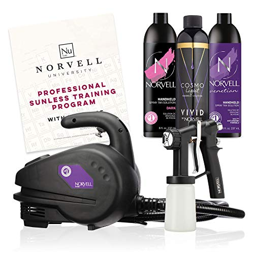 Norvell Sunless Kit - M1000 Mobile HVLP Spray Tan Airbrush Machine + 8 oz Tanning Solutions in Ultra Vivid 'Cosmo Light', Venetian and Dark + Norvell Training Program (Retail Value $490)