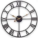 SkyNature Große Wanduhr, Vintage römische Ziffern Dekor Uhr, stille Nicht tickende Metalluhr für Wohnzimmer, Küche, Garten, Zaun, Terrasse - 45 cm, schwarz