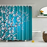 lemoner Custom Waterproof Bathroom Chinese Style Plum Blossom Printed Shower Curtain Polyester Fabric Shower Curtain, 72X72in, Shower Curtains Hooks Included.