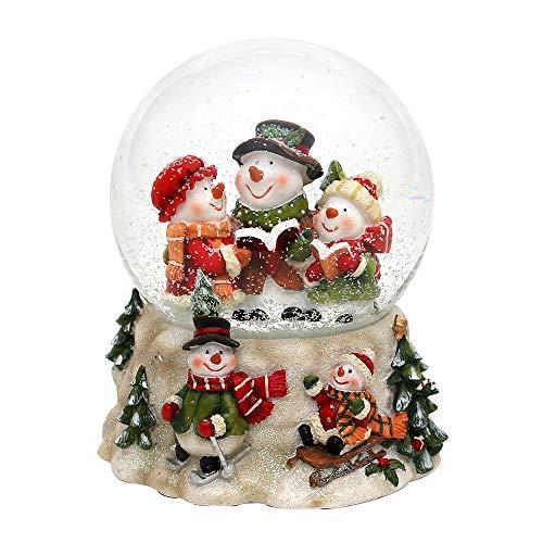 Dekohelden24 Schneekugel, Schneemann Trio, mit Spielwerk, Melodie: Oh du Fröhliche, Maße L/B / H: 13,5 x 12 x 14,5 cm Kugel Ø 10 cm.