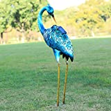 Kircust Crane Garden Statue, Blue Heron Decoy Metal Birds Yard Art with Solar Lights for Outdoor Pond Lawn Patio Decor,27.55'' High