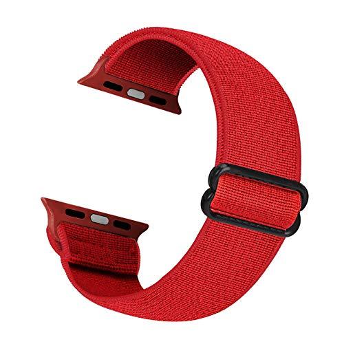 Cinturino di ricambio elastico Cuteeze compatibile con cinturino Apple Watch 38 mm 40 mm 42 mm 44 mm, cinturino in nylon morbido per iWatch serie 6, 5, 4, 3, 2, 1, SE (rosso, 42/44mm)