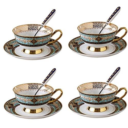 Taza de Latte Art Conjunto de té taza de té taza de café 2, 4, 6 piezas, platillo de taza de café de cerámica europea de lujo con asa, taza de té reutilizable conjunto de té de taza de taza 200 ml (8