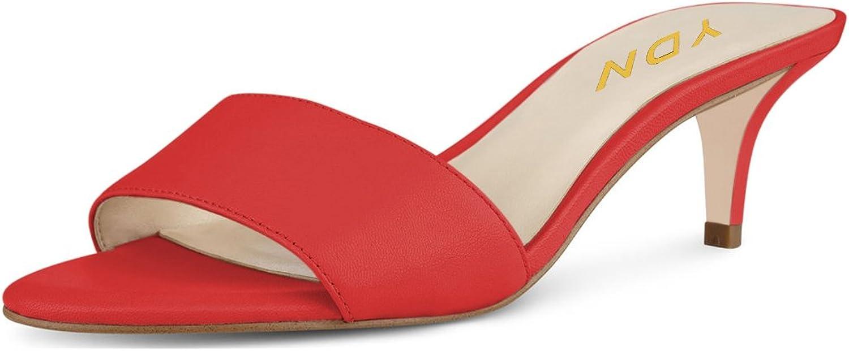 YDN Women Comfy Kitten Low Heel Mules Slip on Clog Sandals Open Toe Dress Pumps Slide shoes