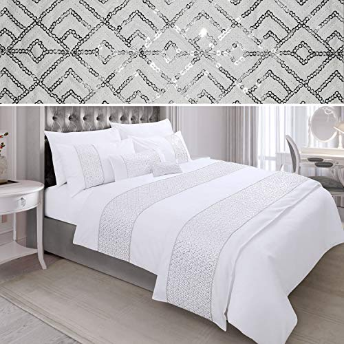 N/A Sequin Diamante Quilt Duvet Cover Set Bedding Linen White (02-07) (King)