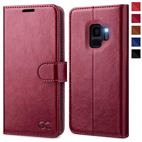OCASE Samsung Galaxy S9 Hülle, Handyhülle Samsung Galaxy S9 [Premium Leder] [Standfunktion] [Kartenfach] [Magnetverschluss] Schlanke Leder Brieftasche für Samsung Galaxy S9 (5,8 Zoll) (Burgundy)