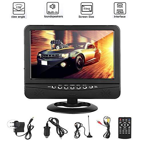 Televisor LCD panorámico portátil, Televisor portátil de ángulo de visión amplio de 9,5 pulgadas Reproductor de televisión DVD analógico móvil Soporte para 3D PAL/NTSC/SECAM TV FM