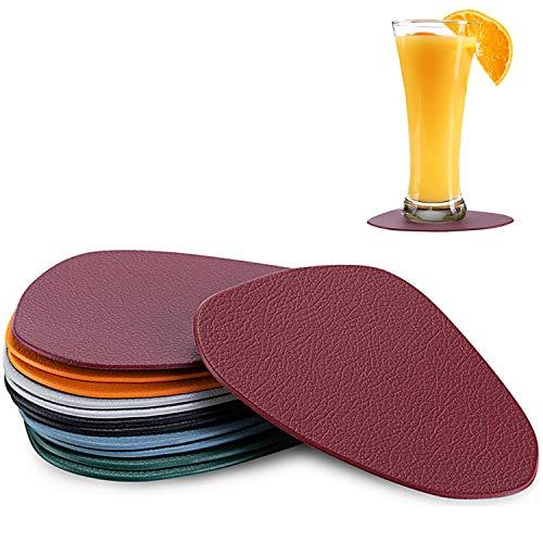 Bligo PU Leder Untersetzer Ovalem für Gläser 12er Set, Glasuntersetzer Getränkeuntersetzer, Premium Glas-Tischuntersetzer für Getränke, Tassen, Bar, Glas, Tisch