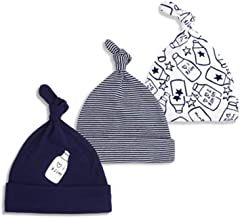 Sywwlov Unisex Newborn Baby Infant Beanie Hat Soft Cotton Cute Adjustable Knot Cap for Boys Girls 0-6M