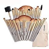 LLHJ - Juego de 32 brochas de maquillaje para sombra de ojos, cejas, lápices, maquillaje, cosméticos, base de maquillaje, brochas K-394LG