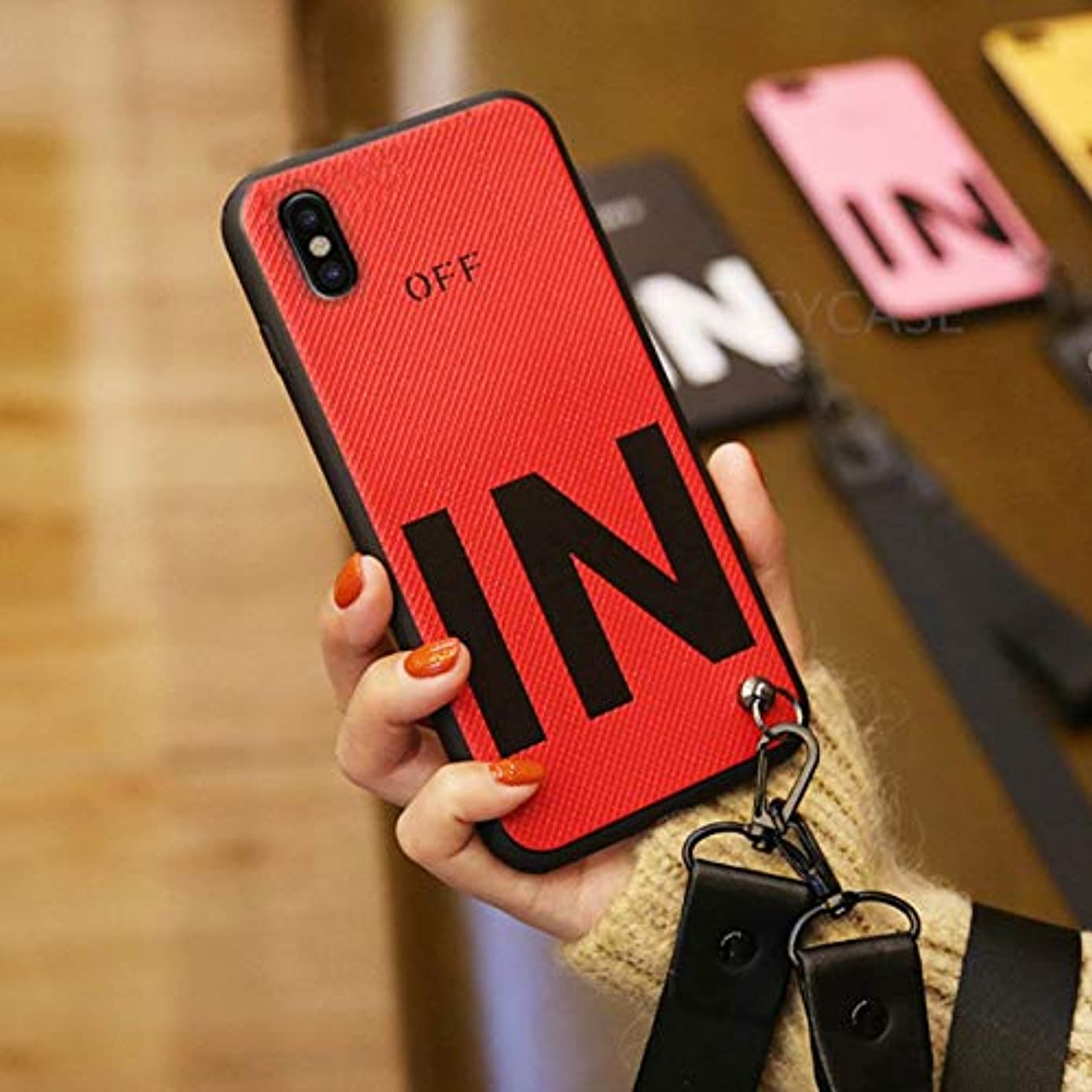 Fitted Cases - Hot Popular Fashion in Letters ANEnd Strap Lanyard Phone case for iPhone X XR Xs Max 6 6S 7 8 Plus Soft Silicon Back Cover - by ANNELE - 1 PCs