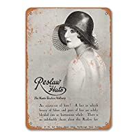 1930 Reslaw Hats and Millinery Signs、Metal Wall Poster Tin Sign Vintage Cafe Shop Home Kitchen Dinner Room Decor 8x12 Inches