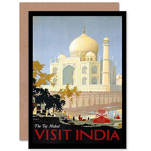 Wee Blue Coo TRAVEL PACIFIC TAJ MAHAL INDIA ADVERT BIRTHDAY BLANK GREETINGS KAART