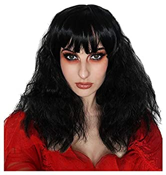 ALLAURA Beetle Bride Black Bob Wig – Wavy with Bangs for Gothic Witch Cosplay