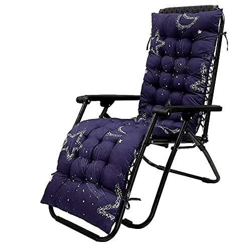 Cojín para silla de jardín con respaldo alto, cojín grueso para asiento de silla de jardín, cojín para asiento reclinable para interiores y exteriores con respaldo para sillón (azul, 48 * 170 cm-3