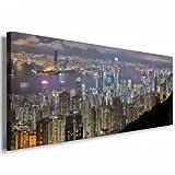 Kunstdruck Hong Kong/Bild 120x50cm / Leinwandbild fertig