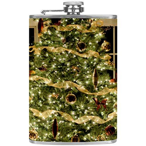 Flagon Flachmann für Alkohol / Whiskey / Wein / Scotch Flask aus Edelstahl, faltbar, auslaufsicher, für Barware, Drink, Outdoor, Trichter, Weihnachtsbaum