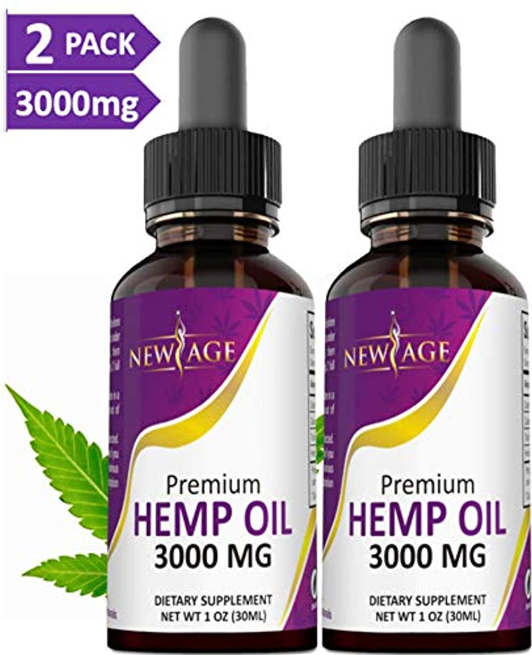 (2-Pack) 3000mg Hemp Oil Extract for Pain, Anxiety & Stress Relief - 3000mg of Pure Hemp Extract - Grown & Made in USA - 100% Natural Hemp Drops - Helps with Sleep, Skin & Hair.