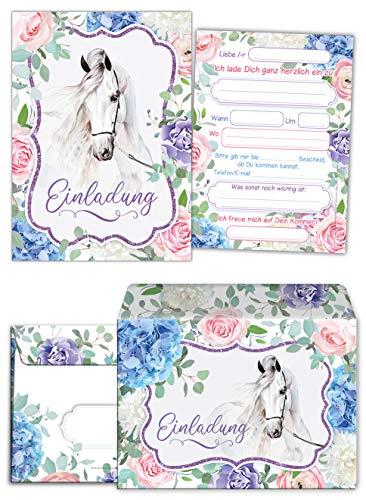 Junaversum 12 Einladungskarten incl. 12 Umschläge zum Kindergeburtstag Mädchen Pferd Einladungen zum Geburtstag Kinder
