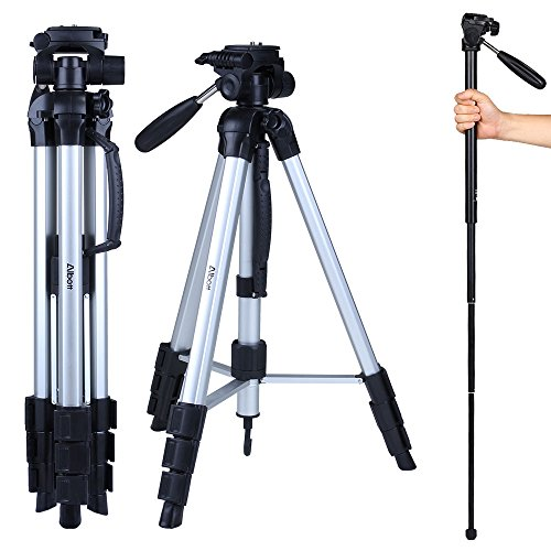 Albott 70' Travel Portable DSLR Camera Tripod Monopod Flexible Head for Canon Nikon with Carry Bag
