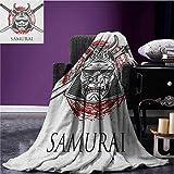 LKrou Manta cálida Suave Japonesa Detallada Máscara de Guerra de la Edad Media...