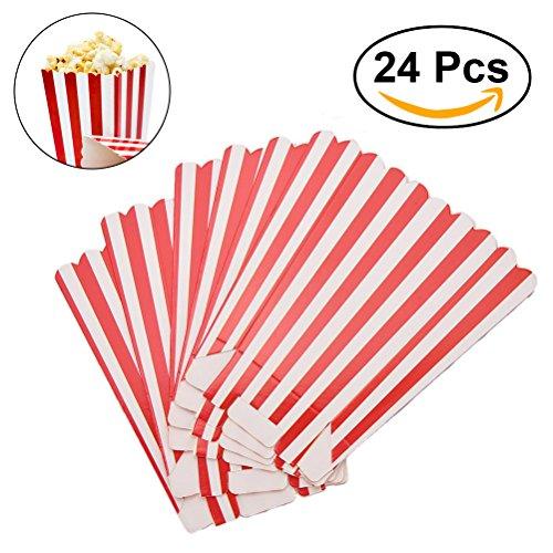 NUOLUX Cajas de palomitas de maíz porta contenedores de palomitas de maíz cartones bolsas de papel caja de raya para el partido, 24pcs